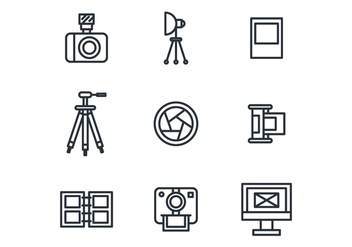 Outlined Photography Icons - vector #445959 gratis