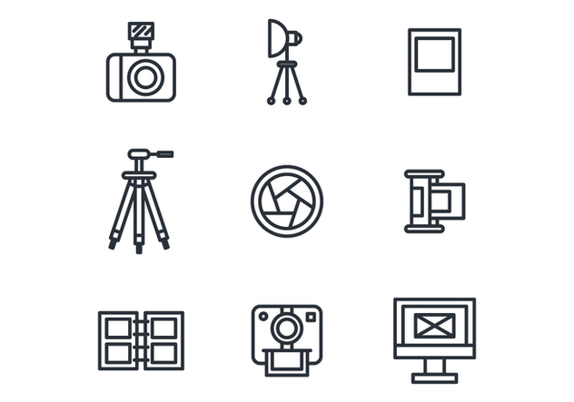 Outlined Photography Icons - vector gratuit #445959
