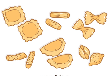 Hand Drawn Pasta Collection Vector - vector gratuit #445969