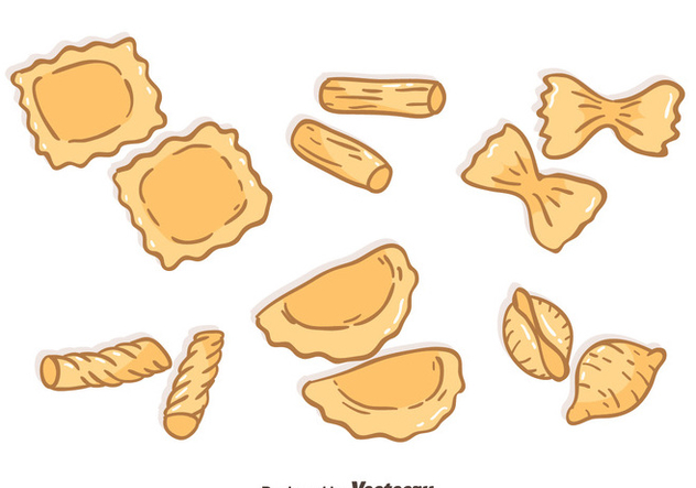 Hand Drawn Pasta Collection Vector - Kostenloses vector #445969