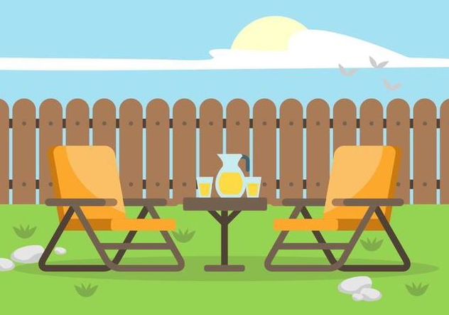 Backyard with Lawn Chairs Illustration - бесплатный vector #446039