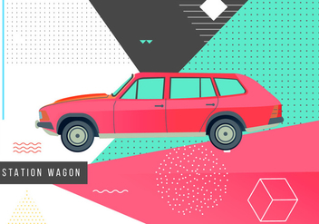 Retro 80s Station Wagon Memphis Vector Illustration - Kostenloses vector #446049