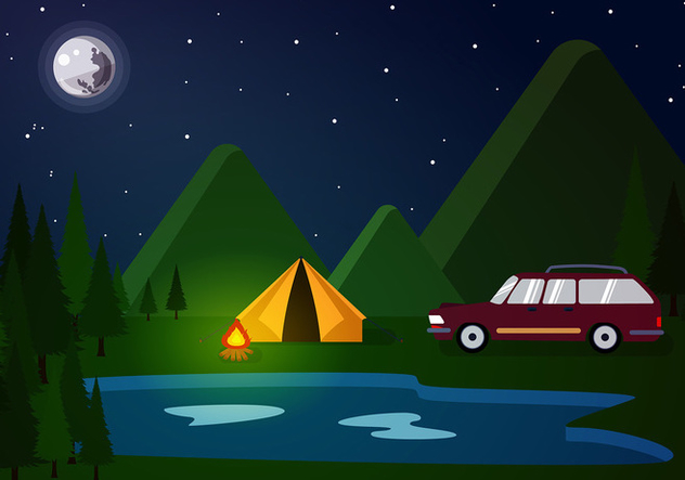 Station Wagon Camp Free Vector - vector gratuit #446059