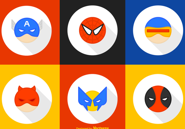 Round Superhero Character Vector Icons - vector #446339 gratis