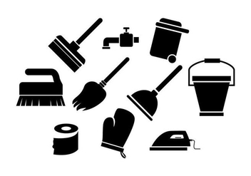 Free Cleaning Tools Silhouette Icon Vector - vector gratuit #446379