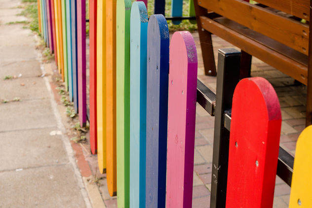 Happy Life starts with a colorful Fence - бесплатный image #449399