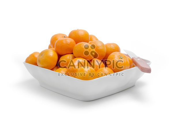 oranges in white plate on white background - Free image #452519