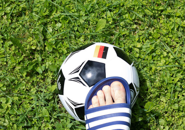 Man's foot touching soccer ball - бесплатный image #454469