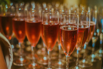 Glass of pink rose champagne - image #455909 gratis
