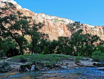 Water, Trees, Rock and Sky, Zion NP 4-14 - Kostenloses image #458469