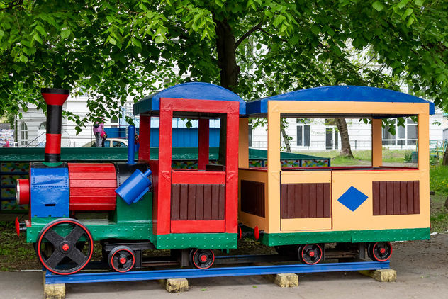 Toy train in child's playground - image #461129 gratis